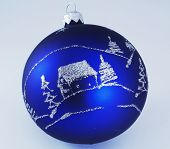 Blue christmas ball for background