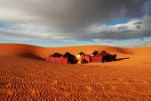 The bedouins camp in  Sahara, Morocco