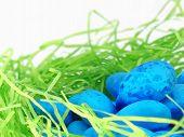 Blue Easter Eggs On Lime Green Nest