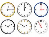 Sechs verschiedene Uhren