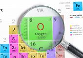 Постер, плакат: Oxygen Element Of Mendeleev Periodic Table Magnified With Magn