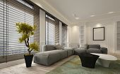 Fancy apartment living room interior with large floor to ceiling window blinds and soft gray modular poster