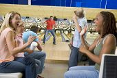 Families on trip to bowling alley