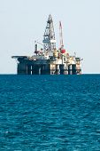 stock photo of oil rig  - Oil Rig Drilling Platform in mediterranean sea - JPG