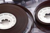 Old audio cassette tape rolls