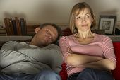 stock photo of woman couple  - Couple Watching Television - JPG