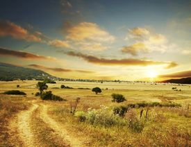 picture of landscapes beautiful  - Rural scene on sunset - JPG