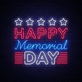 Memorial Day Vector. Memorial Day Neon Sign, Design Template, Greeting Card In Neon Style, Light Ban poster