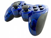 picture of video game controller  - blue video game controller detail for console - JPG