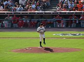 Giants Matt Cain Lifts Leg To Throw Pitch From Mound