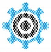 Halftone Hexagon Cogwheel Icon. Pictogram On A White Background. Vector Mosaic Of Cogwheel Icon Comp poster