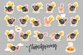 Collection Cartoon Turkey Bird. Happy Thanksgiving Celebration. Funny Character Turkey poster