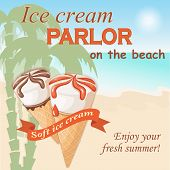 Banner With Two Realistic Waffle Cone Ice Creams On The Seascape Background. Ice Cream Parlor Letter poster