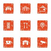 Safe Parking Icons Set. Grunge Set Of 9 Safe Parking Vector Icons For Web Isolated On White Backgrou poster