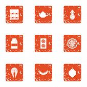 Vital Activity Icons Set. Grunge Set Of 9 Vital Activity Vector Icons For Web Isolated On White Back poster