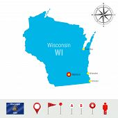 Wisconsin Vector Map Isolated On White Background. High Detailed Silhouette Of Wisconsin State. Vect poster