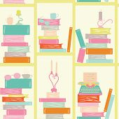 Seamless Pattern, Bookshelf Writer. Books, Candles, Glasses, Typewriter. Library Book Shelf Backgrou poster
