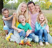 picture of happy family  - Happy large family with children in autumn park - JPG