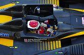 ESTORIL - 25 de setembro: O FLM Oreca 09 da equipe Motorsport de Neil Garner, paradas no pit-lane f