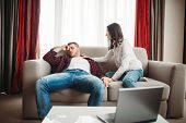 Wife reassures her husband after family quarrel poster