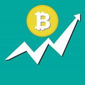 Bitcoin Financial Growth Graph. Financial Growth Concept With Bitcoin. Vector Bitcoin Growth Graph O poster