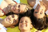 picture of teenage boys  - happy smiling group of healthy teenagers boys and girls - JPG