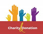 Vector Icon Background Design For Charity, Donation, Fundraising And Volunteering Subjects. Rising H poster
