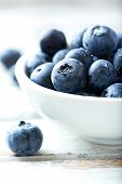 Blueberry, blueberries, fresh berry, berries, bilberry, bilberries served in a small ceramic bowl on poster