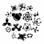 Molecule Icons Set. Simple Illustration Of 16 Molecule Vector Icons For Web poster