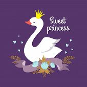 Cute Cartoon White Baby Swan Princess Vector Graphics For Poster Or Girl T-shirt. Illustration Of Bi poster