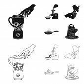 Equipment, Appliances, Appliance And Other  Icon In Black, Outline Style., Cook, Tutsi. Kitchen Icon poster