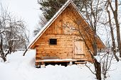 New Small Timber Cottage In Snow-covered Garden In Overcast Winter Day In Smolensk Region Of Russia poster