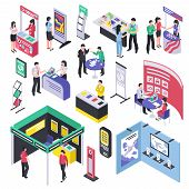 Isometric Expo Stand Trade Show Exhibition Set Of Isolated Exhibit Racks Stands Booth Elements And P poster