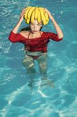 Sensual Woman. Vitamin In Fruit At Girl Near Water. Vitamin And Healthy Organic Food poster