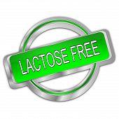 Decorative Dark Green Lactose Free Button - 3d Illustration poster