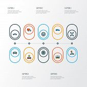 Automobile Icons Colored Line Set With Wheel, Tesla, Pickup And Other Van  Elements. Isolated  Illus poster