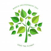 Green Paper Tree. Paper Cutout Green Leaves. World Environment Day, June 5. Eco Friendly Symbol. Eco poster