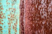 Texture Of Rusty Brown Old Shabby Oxidized Metal, Iron With Expanded White Paint, Pits And Patterns, poster