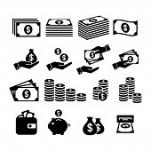 Financial Icon Set. Money Icons. Money Stack, Coin Stack, Piggy Bank, Wallet With Money, Cash Paymen poster