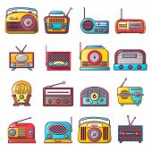 Radio Music Old Device Icons Set. Cartoon Illustration Of 16 Radio Music Old Device Vector Icons For poster