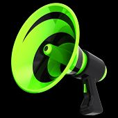 3d Illustration Of Bullhorn Megaphone, News Blog, Propaganda, Communication, Announce Symbol. Green  poster