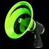 3d Illustration Of Bullhorn Megaphone, News Blog, Propaganda, Communication, Announce Symbol. Green  poster