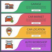 Auto Workshop Web Banner Templates Set. Garage, Car Market, Automobile Location, Repair Service. Web poster