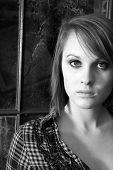 Black And White Portrait Of A Pretty Woman