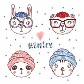 Set Of Hand Drawn Cute Funny Portraits Of Cat, Bear, Panda, Rabbit In Different Warm Hats, Text Wint poster