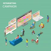 Retargeting Campaign Flat Isometric Vector Concept. People Around All Types Of Devices For Internet  poster
