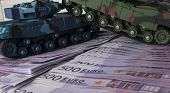 Close Up Green And Blue Tank Toy Placed On Euro Banknotes Pile. Business And Economy War. New World  poster