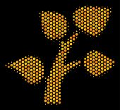 Halftone Hexagon Flora Plant Icon. Bright Yellow Pictogram With Honeycomb Geometric Structure On A B poster