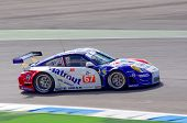 ESTORIL - SEPTEMBER 25: The Porsche 997 GT3 RSR of the team IMSA Performance Matmut piloted by Raymond Narac in the LMS race