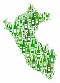 Peru Map Mosaic Of Wine Bottles And Empty Circles In Various Sizes And Green Color Tones. Abstract P poster